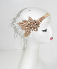 Rose Gold Nude White Feather Headband 1920s 30s Great Gatsby Flapper Vintage 280