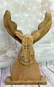 Dekofigur Elch Weihnachtsfigur aus Mango Holz  braun 45cm x 31cm Deko NEU