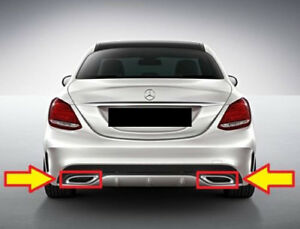 Nuovo Originale Mercedes Benz Classe C W205 AMG Set Cromo Terminale Tubo Scarico