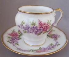 Rosina Queens Blue Pink Floral Design Tea Cup Saucer Fine Bone China England