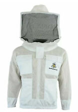 Top Quality 3Layer Unisex Ultra Ventilated White Mesh Bee Jacket Round Veil. S