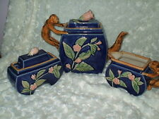 Vintage 5-Pc.  Monkey Handle MAJOLICA Teapot ~ Creamer ~ Sugar Bowl