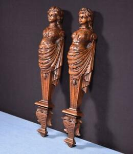 """*Pair of 18"""" French Antique Solid Walnut Women Figures/Trim Posts"""
