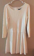 Ralph Lauren Pleated Fit Flare Viscose Long Sleeve Dress Medium Cream EUC