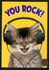 "Thank You Gray CAT Kitten Headphones   "" You Rock ""  Thank You Greeting Card"