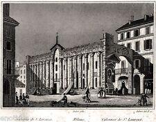Milano: Colonne di San Lorenzo. Audot.Acciaio. Stampa Antica + Passepartout.1840