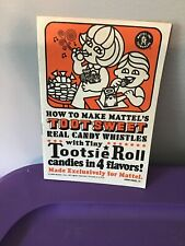 Vintage 1968 Mattel  Toot Sweet Tootsie Roll toy whistle maker Instruction Book.