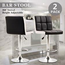 2PC Bar Stools PU Leather Adjustable Swivel Barstools Hydraulic Pub Chair Black