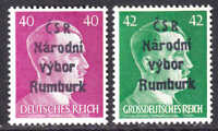 GERMANY 520, 529 CSR RUMBURK OVERPRINT OG NH U/M F/VF TO VF BEAUTIFUL GUM