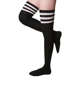 Women Cable Knit Long Stripe Socks Over Knee Thigh High School Girl Stocking