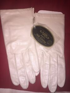 Vintage Aris Cashmere Lined Leather Gloves Beige W/ Tags Size 7