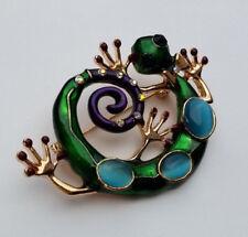 Brosche Echse Gekko 5,5 cm goldfarben lila türkis grün Strass *NEU*