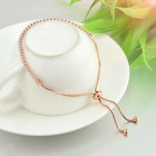 Chic Rhinestone Crystal Tennis Bracelet Adjustable Fashion Women Jewelry Rose Gold
