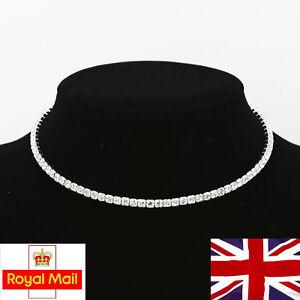 1 Row Crystal Simulated Diamante Necklace Choker Collar Rhinestone Chocker