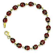 Ladies Modern 14K Yellow Gold Red Enameled Ladybug Insect Link Bracelet - 7 inch