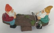 "Miniature Fairy Garden Gnomes on Seesaw Wood Look Plank w Log Base 3.1/2""X2.1/2"""