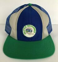 Vintage 80s Sports Hat NFL Seattle Seahawks Trucker Mesh Cap with Defect