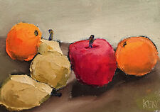 FOR THE BEACH ONE Expression Still Life Art Fruit Oil Painting 5x7 053019 KEN