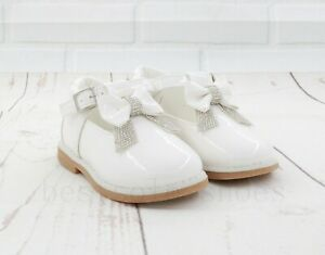 KIDS BABY INFANTS GIRLS SHINY T-BAR SPANISH BOW WEDDING PARTY PATENT SHOES SIZE
