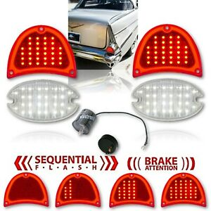 57 Chevy Bel Air Nomad Sequetial LED Tail & Back Up Light Lens w/ Flasher Set