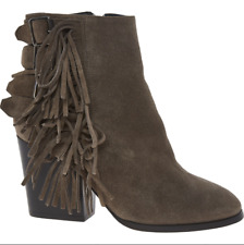 4830069f7e1 BNIB The Kooples Taupe Minx Suede Fringed Ankle Boots Size UK 3 EU 36 €325