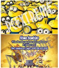 Biglietti - Inviti Compleanno personalizzati MINIONS - 30 Pz