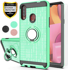 For Samsung Galaxy A20S Case Shockproof Cover Ring Holder Stand Screen Protector
