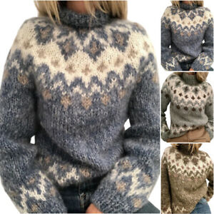 Women Winter Knitted Nordic Sweater High Neck Pullover Jumper Casual Warm Tops
