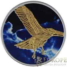 2015 1 Oz Ounce Silver Canadian Hawk Coin Colorized Cloud Gold Gilded 9999 RARE!