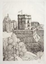Gravure originale de MEB artiste trisomique datée 1966 Art Brut Vincennes