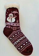 Purple Lined Fleece Sweater Slipper Sock Snowman Winter Cozy