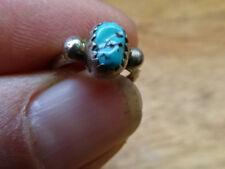 Tiny handmade old native American turquoise ring