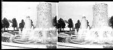 Fontaines porte de Saint Cloud Paris négatif photo verre stéréo 6x13 déb. 1930