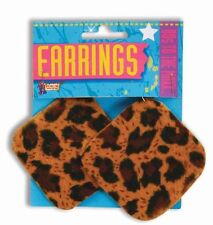 80s Cheetah Leopard Earrings Clip On Rocker Rock Star Halloween Costume Ear Ring