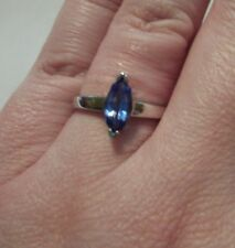 Tanzanite AA Grade 1.00CTW Marquise Cut Solitaire Ring in 10K White Gold