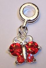 July Birthstone Red Rhinestone Butterfly Dangle Charm for European Bead Bracelet