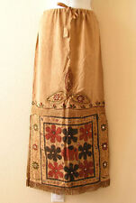 G120 Gothic Hippie Gypsy Bohemian Renaissance Heavily Embroidered Long Skirt - L