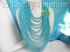 Authentic 12row round turquoise bead necklace j2487