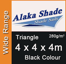 Extra Heavy Duty Shade Sail - Black Triangle 4x4x4m, 4 x 4 x 4m, 4 by 4 by 4m