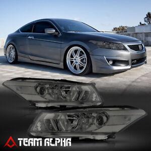 Fits 2008-2012 Honda Accord 2Dr[Chrome/Smoke]Crystal Corner Projector Headlight