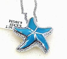 #P140S 3ct. Ocean Blue Turquoise Sterling Silver Sea Star Pendant