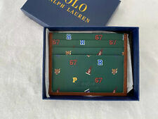 Polo Ralph Lauren Mens Leather Ivy League Card Case Front Pocket Wallet Green