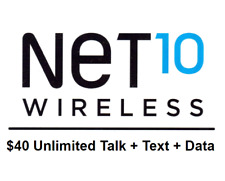 Net10 $40/Month Plan Refill With Unlimited Talk Text & Data - SAME DAY REFILL