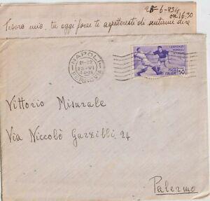 25/6/1934 50C CAMPIONATO MONDIALE DI CALCIO ISOLATO SU BUSTA DA NAPOLI X PALERMO