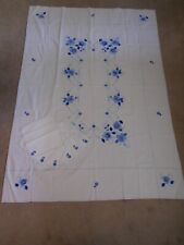 "Vintage Hand Embroidered Blue Floral Tablecloth w 6 Matching Napkins 69"" x 49"""