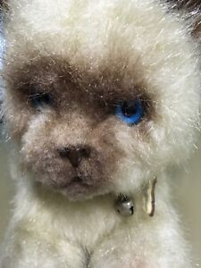 Vintage PLUSH SIAMESE CAT 'REAL SOFT TOYS' Blue Eyes Collar & Bell 70/80s Teddy