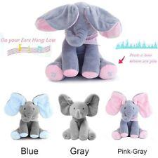 "12"" Peek A Boo Elephant Baby Flappy Plush Toy Singing Peekaboo Kids Gift Doll Uk"