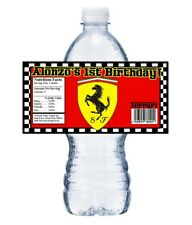 FERRARI LOGO PERSONALIZED BIRTHDAY PARTY FAVORS ~ WATER BOTTLE LABELS WRAPPERS