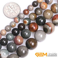 "Natural Gemstone Polychrome Jasper Agate Round Beads For Jewelry Making 15"" YB"