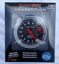 Super Pro #1351 Tachometer 0-10000 RPM Black Face Brushed Aluminum Bezel 5 Inch